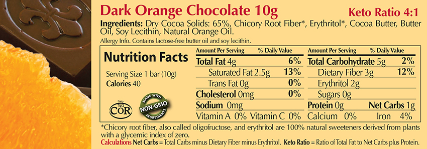 Dark Orange Chocolate 10g Nutritional Facts