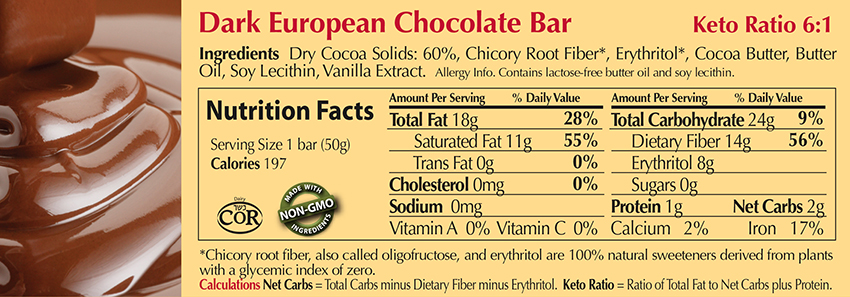 Dark European Chocolate Bar Nutritional Facts
